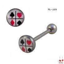 Piercing langue logo jeu de cartes blanc, noir et rouge en acier inox