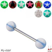 Piercing langue boules acrylique étoiles 9 couleurs et barre en acier chirurgical