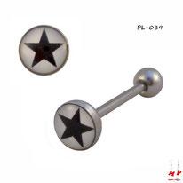 Piercing langue logo étoile noire sur fond blanc en acier inox