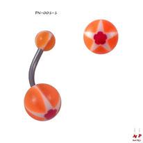 Piercing nombril boules acryliques à étoiles et fleurs rouges et orange fluo