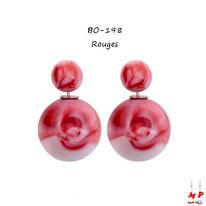 Boucles d'oreilles double perles fumées rouges et blanches
