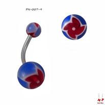 Piercing nombril boules acryliques à hélices rouges et bleues