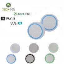 Paires de grips de protections en silicone translucides et cercles colorés pour joysticks de Playstation, Xbox et Nintendo 3 couleurs