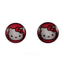 Boucles d'oreilles logos Hello Kitty