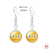 Boucles d'oreilles pendantes emoji émoticônes smiley choqué