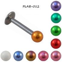 Piercing labret boule anodisée 10 couleurs et barre en acier chirurgical