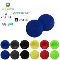 Paires de grips de protections de joysticks à motifs ronds en silicone pour manettes xbox 360 xbox one PS3 PS4 et wii U