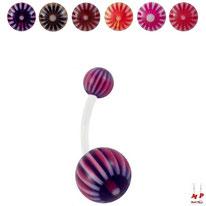 Piercings nombrils bioflex boules acryliques à rayons