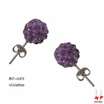 Boucles d'oreilles shamballa violettes