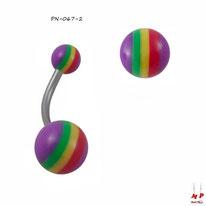 Piercing nombril à boules acryliques rasta et violettes