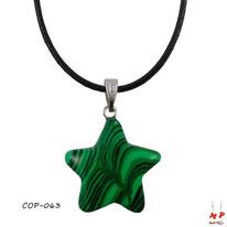 Collier à pendentif étoile en pierre de malachite stone