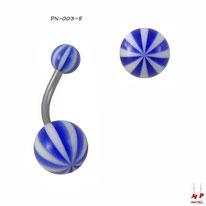 Piercing nombril à boules acryliques ballons de plages bleus et blancs