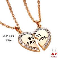 Collier à pendentif coeur séparé Best Friend doré et strass