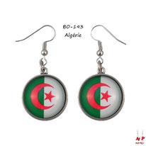 Boucles d'oreilles pendantes rondes drapeau de l'Algérie en verre