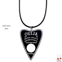 Collier à pendentif coeur en planche de ouija noire et blanche