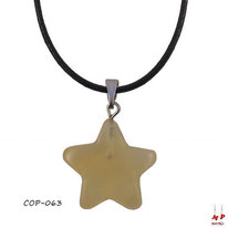 Collier à pendentif étoile en pierre d'aventurine jaune
