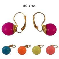 Boucles d'oreilles boules rondes 5 couleurs