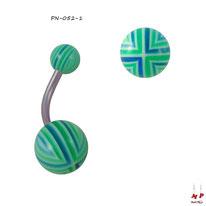 Piercing nombril boules acryliques à quadrillages verts et bleus