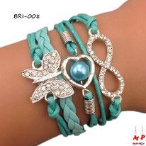 Bracelet infini vert turquoise en similicuir multi-breloques papillon et coeur perlé
