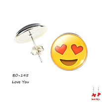 Boucles d'oreilles à puces rondes emoji love you