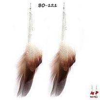 Boucles d'oreilles plumes d'oiseaux et chaines argentées