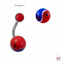 Piercing nombril à boules acryliques yin yang bleues, blanches et rouges