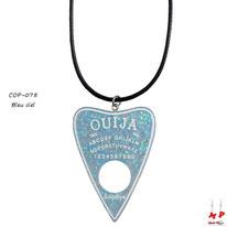 Collier à pendentif coeur en planche de ouija bleu ciel et son cordon noir
