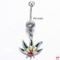Piercing nombril pendentif feuille de cannabis rasta en acier