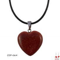 Collier à pendentif coeur en pierre du soleil