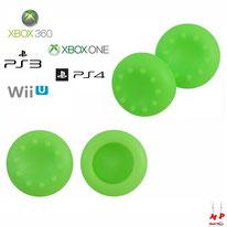 Paire de grips de protection verts fluos en silicone pour joysticks de PS3, PS4, Xbox 360, Xbox One et Nintendo Wii U