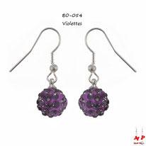 Boucles d'oreilles pendantes shamballa violettes