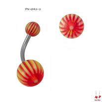 Piercing nombril boules acryliques à rayons jaune fluo et rouges