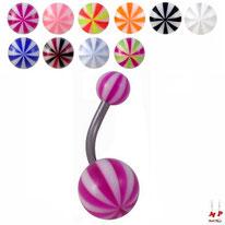 Piercings nombrils à boules acryliques ballons de plages/melons 10 couleurs