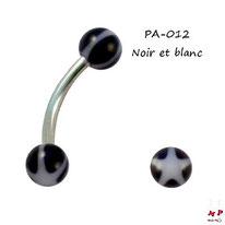 Piercing arcade boules acrylique noires et étoiles blanches