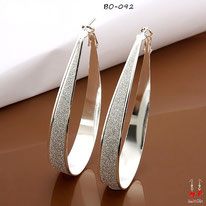 Boucles d'oreilles anneaux ovales argent sterling 925