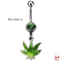 Piercing nombril à pendentif feuille de cannabis verte