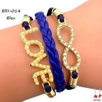 Bracelet love et infini bleu et doré en similicuir