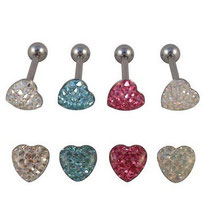 Piercing langue coeur multistrass 4 couleurs