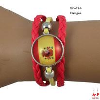 Bracelet en similicuir rouge et jaune modèle drapeau de l'Espagne