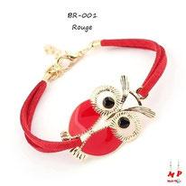 Bracelet hibou rouge et doré en similicuir