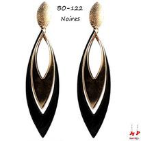 Boucles d'oreilles pendantes ovales noires et dorées