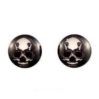 Boucles d'oreilles acier chirurgical logo tête de squelette blanche sur fond noir