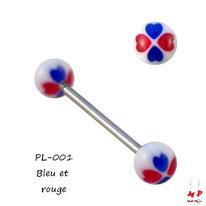 Piercing langue boules trèfles à quatre coeurs rouges et bleus
