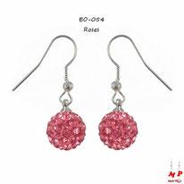Boucles d'oreilles pendantes shamballa roses