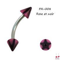 Piercing arcade Spike acrylique étoile noire et rose
