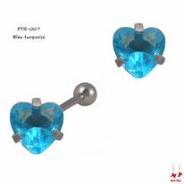 Piercing tragus et cartilage à strass en coeur bleu turquoise