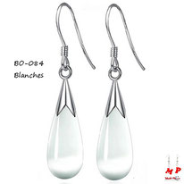 Boucles d'oreilles pendantes gouttes d'eau blanches opale