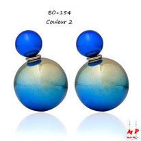 Boucles d'oreilles double perles bleues
