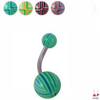 Piercings nombrils boules acryliques à quadrillages 4 couleurs
