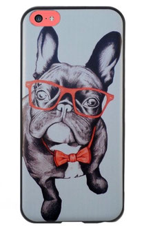 Coque pour iphone 5c bouledogue noir à lunettes et noeud papillons rouges